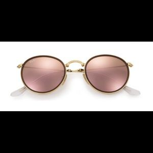 cbedff03eb03 ... uk ray ban accessories ray ban round folding rose gold flash lenses  94b53 70882